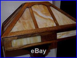 Rare STICKLEY Era ARTS & CRAFTS TABLE LAMP MISSION OAK Craftsman Wood Slag Glass