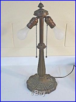 Rare Slag Rainbow Art Glass Antique Table Lamp