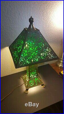 Riviere Studios Antique Mission Arts & Crafts Claw Foot Slag Glass Table Lamp