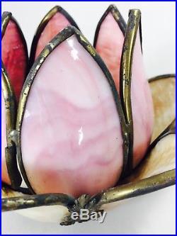 SET 2 Vtg Stained Slag Glass Hanging Pendant Lamp Light Shade Tulip Handel