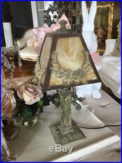 SHABBY ANTIQUE VTG Barbola Rose Swag Slag Glass Victorian Boudoir Lamp OLD