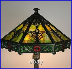 SIGNED BRADLEY & HUBBARD ARTS & CRAFTS SLAG GLASS LAMP c1905 ANTIQUE NOUVEAU