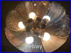 STUNNING! Vintage Hanging Swag Lamp Slag Glass Blue Green Amethyst 18