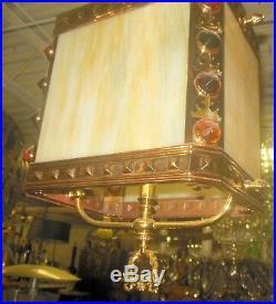 SUPERB Antique VICTORIAN Caramel SLAG Glass Jewel Light Fixture Hanging Lamp