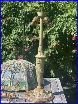 Salem Bros. Antique Slag Glass Panel Table Lamp For Parts / Restoration