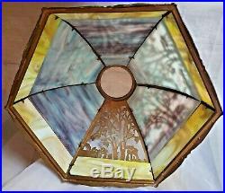 Scenic LAMP SHADE 12 panel SLAG GLASS antique FILIGREE overlay 1 glass missing