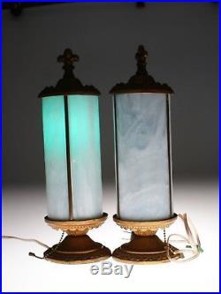 Set of 2 Vintage French White Slag Glass Cylinder Lamps Fleur de Lys Finial 1935