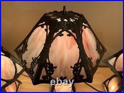 Set of Antique Purple Slag Glass Lamps