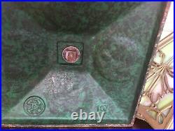 Signed Antique Bradley & Hubbard Arts & Crafts Era Slag Glass Lamp Metal Overlay