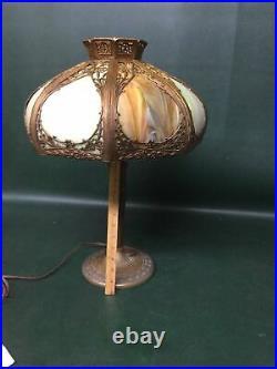 Signed Miller Antique Caramel Slag Glass 8 Panel Overlay Table Lamp Base #233