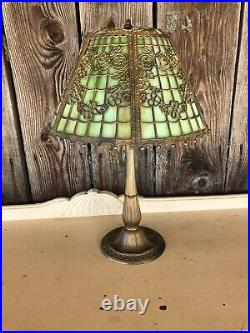 Signed Miller Company Slag Glass Lamp Embossed Table Lamp