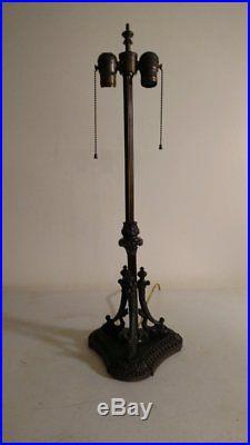 Signed Pittsburgh Ornate Dolphin Lamp for slag or leaded glass/Handel Era