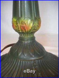 Signed Rainaud 19 1/2 Antique 6 Curved Panel Slag Glass Lamp Circa 1916-1930