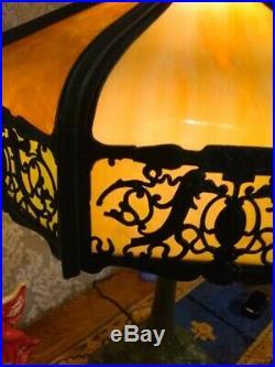 Signed Wilkinson Slag glass lamp Handel Tiffany arts & crafts leaded glass era