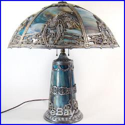 Silver Plated Art Glass Slag Table Lamp 1920's