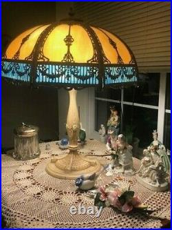 Slag Glam Panel Glass Table Lamp Cast Metal Neutral Light Turquoise Sky Blue