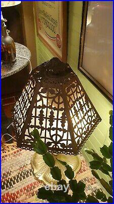 Slag Glass Lamp Bradley & Hubbard/D&K Style Antique Vintage Bronze Lamp