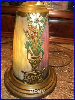 Slag Glass Lamp with Lighted Base, Sunrise/Sunset