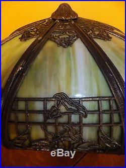 Slag glass arts crafts antique mission vintage Green 8 panel 3 bulb lamp