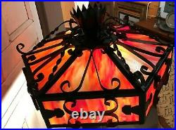 Spanish Revival Wrought Iron Slag Glass Torchiere Lamp