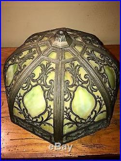 Stunning Antique Slag Glass Metal Overlay Lamp Attrib To Bradley & Hubbard