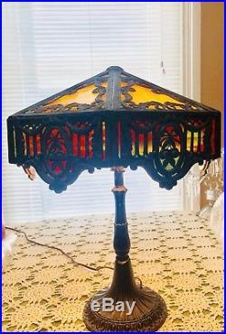 Stunning Signed Antique Miller M. L. CO Slag Glass Art Nouveau Lamp 12 panel