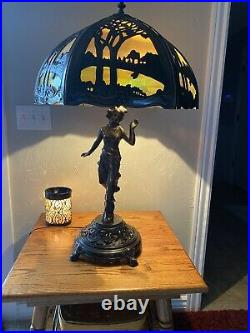 Stunning Table Lamp With Lady Base With Leaded Slag Glass Scene Shade