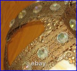 Stunning XL Antique Brass Filigree & Caramel Swirl Slag Glass Lamp Shade -rare