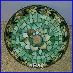 Suess Arts & Crafts Leaded Slag Stained Glass Floral Lamp Handel Duffner Era