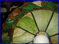 Superb Slag Glass Hanging Chandelier-Fruits Border-Very Large Slag Lamp-LQQK