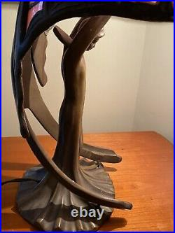 The Winged Lady 18 Bronze Lamp Art Deco Stained Slag Glass, 1930s