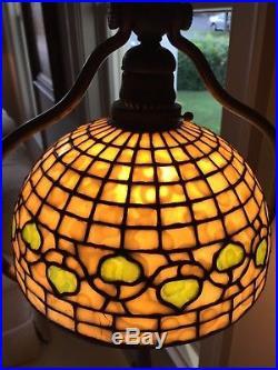 Tiffany Studios Acorn Leaded Slag Stained Glass Lamp Antique Original Authentic