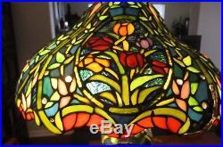Tiffany Style Green Slag glass lamp shade Ornate Mosaic Base 14 Lbs Tulip Lily