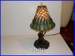 Tiffany Style Stained Glass MONKEY Table Desk Lamp 17 Tall Resin RARE Slag
