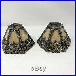 Two Antique Bradley & Hubbard Edwardian Arts & Crafts Lamp Shades Slag Glass B&H