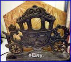 UNUSUAL 1920s Cinderella's Carriage SLAG GLASS Silhouette Lamp Art Deco