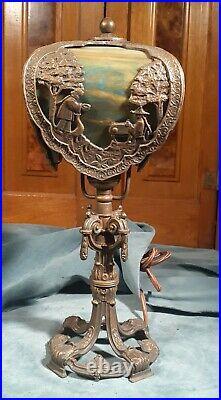 Unusual slag glass boudoir lamp circa 1920-1930