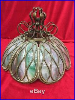Victorian Bronze Antique Slag Stained Glass Lamp Shade