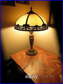 VINTAGE 6-PANELED CARMEL SLAG GLASS TABLE LAMP, SALEM BROS. 1920's, ALL ORIGINAL