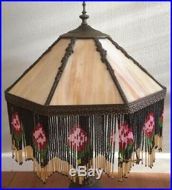 VINTAGE CARAMEL SLAG STAINED GLASS 8 PANEL LAMP SHADE WithBEADED FRINGE & FINIAL