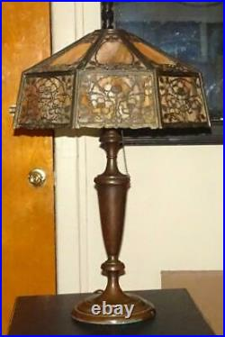 VTG Wilkinson #806 Table Lamp Antique Slag Glass Lamp with Shade Original Finish
