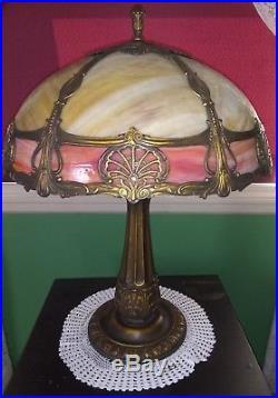 Very Fine Miller Slag glass lamp-Handel Tiffany Empire Arts Crafts leaded era