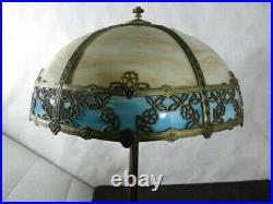 Very Rare Chicago Mosaic C. 1910 Sunflower Slag Glass Beige and Blue Lamp