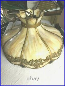Victorian Antique Vintage Caramel Slag Glass Hanging Lamp Shade