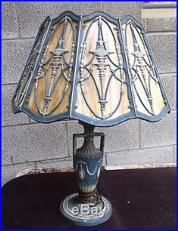 Victorian Slag Glass Painted Table Lamp