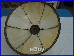 Victorian Very Nice Panel Lamp With Slag Glass Panel Shade, Excellent Condition