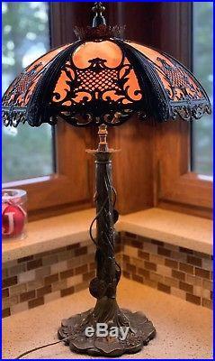Victorian Vintage Antique Slag Glass Table Lamp