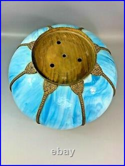 Vintage 14 Tiffany Victorian Style Blue Stained Slag Glass Lamp Shade