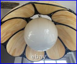 Vintage 18 Tan & Beige Swirl Stained Slag Glass Ceiling Hanging Lamp Light