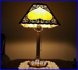 Vintage 1920s Slag Glass Lamp in beautiful shape cast base marked CC CO and 6